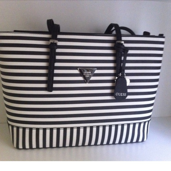 4570021d74 Guess Handbags - Guess Black   White Striped Med Purse